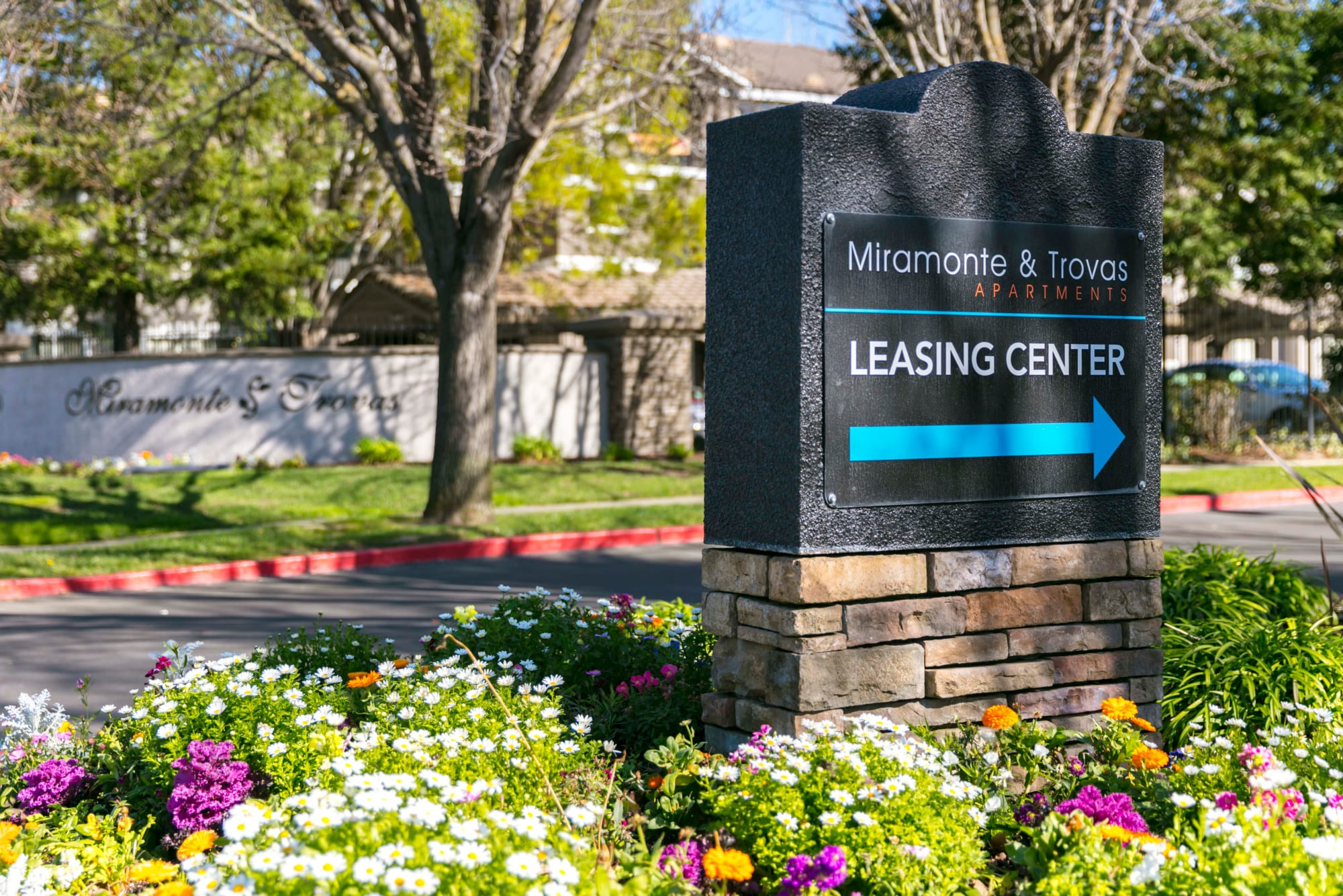 Leasing center sign at Miramonte and Trovas in Sacramento, California