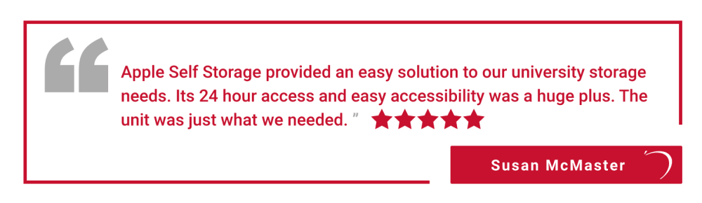 Five star review of Apple Self Storage - Halifax Westend in Halifax, Nova Scotia, from Susan