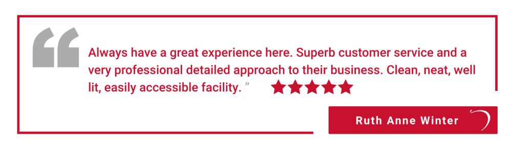 Five star review of Apple Self Storage - Oakville in Oakville, Ontario, from Ruth