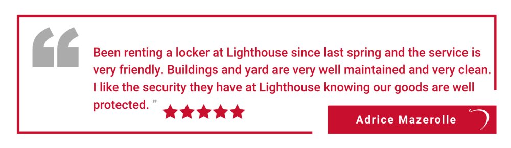 Five star review of Lighthouse Self Storage in Moncton, New Brunswick, from Ruth