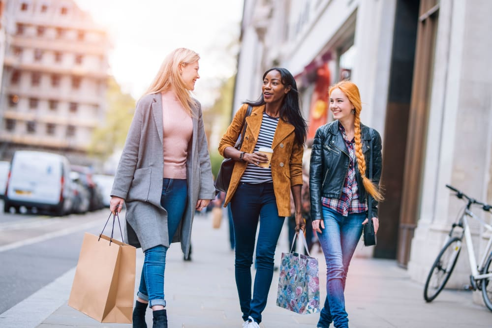 Residents enjoying the shopping near Markham Gardens in Staten Island, New York