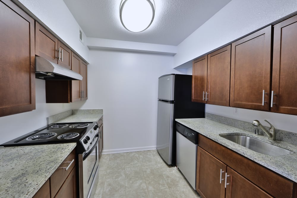 Open-concept kitchen at Tamarron Apartment Homes in Olney, Maryland