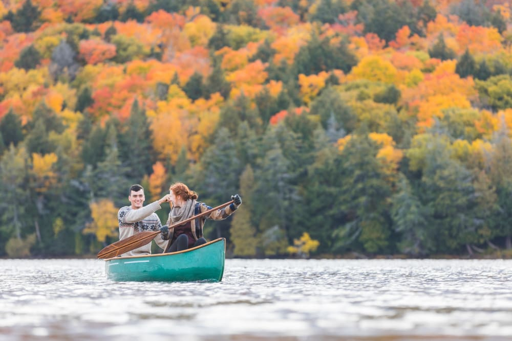 A family in a canoe near Trojan Storage in Portland, Oregon