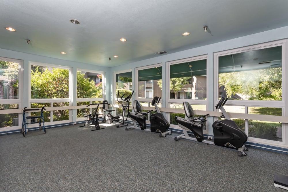 Fitness center at The Atrium at Carmichael in Carmichael, California.