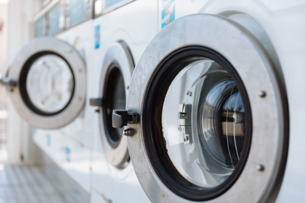 An onsite laundry facility at Argent Apartments in Silver Spring, Maryland