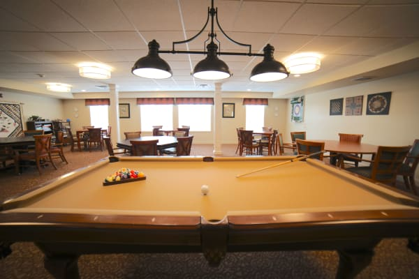 Pool table at Traditions of Hanover in Bethlehem, Pennsylvania