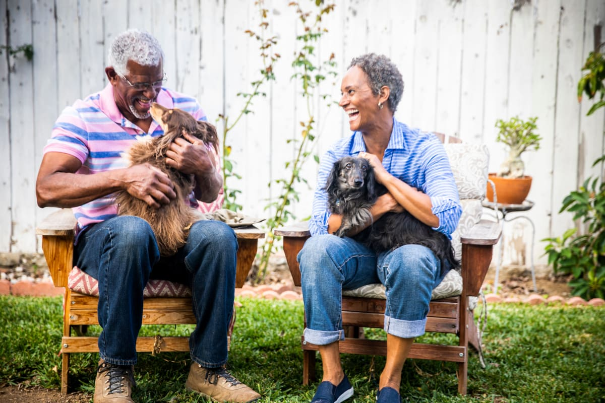 Resident family and their dogs playing at Artistry at Craig Ranch in McKinney, Texas