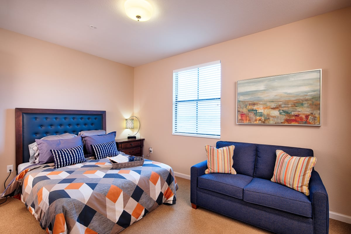 A resident bedroom at The Fountains of Hope in Sarasota, Florida.