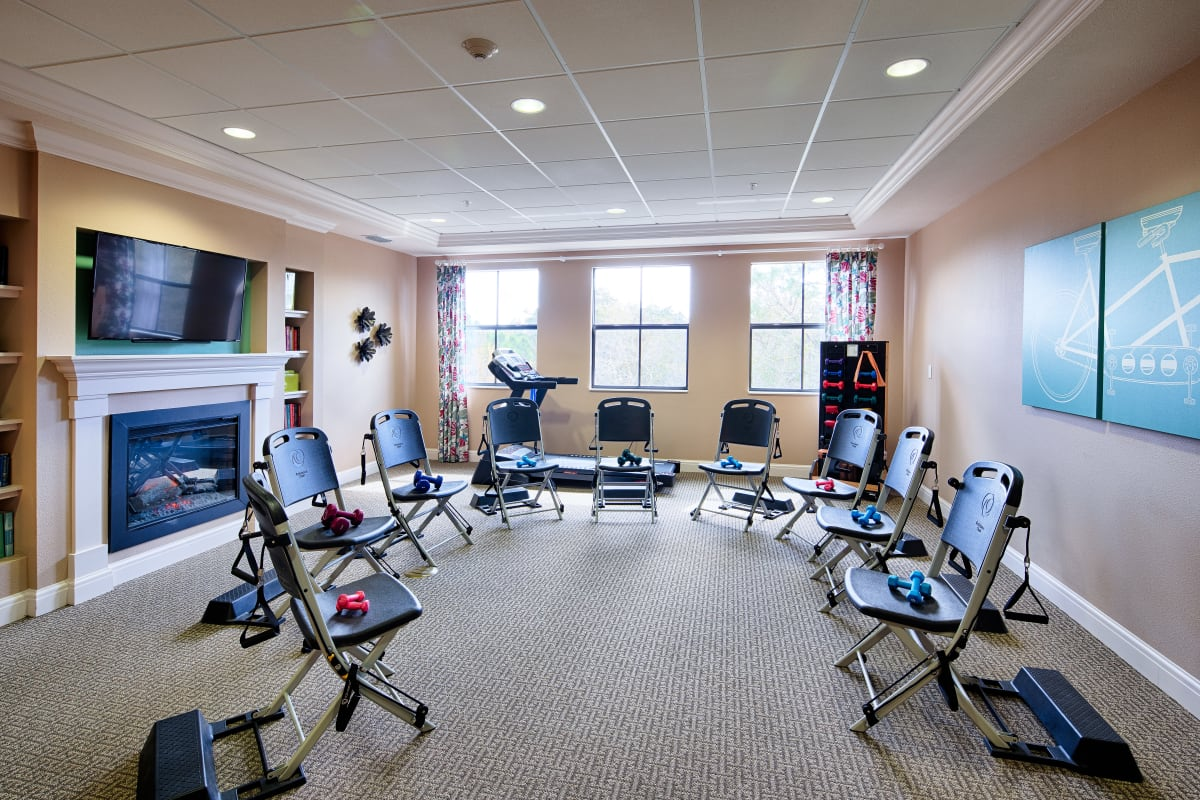 Fitness room at The Fountains of Hope in Sarasota, Florida.