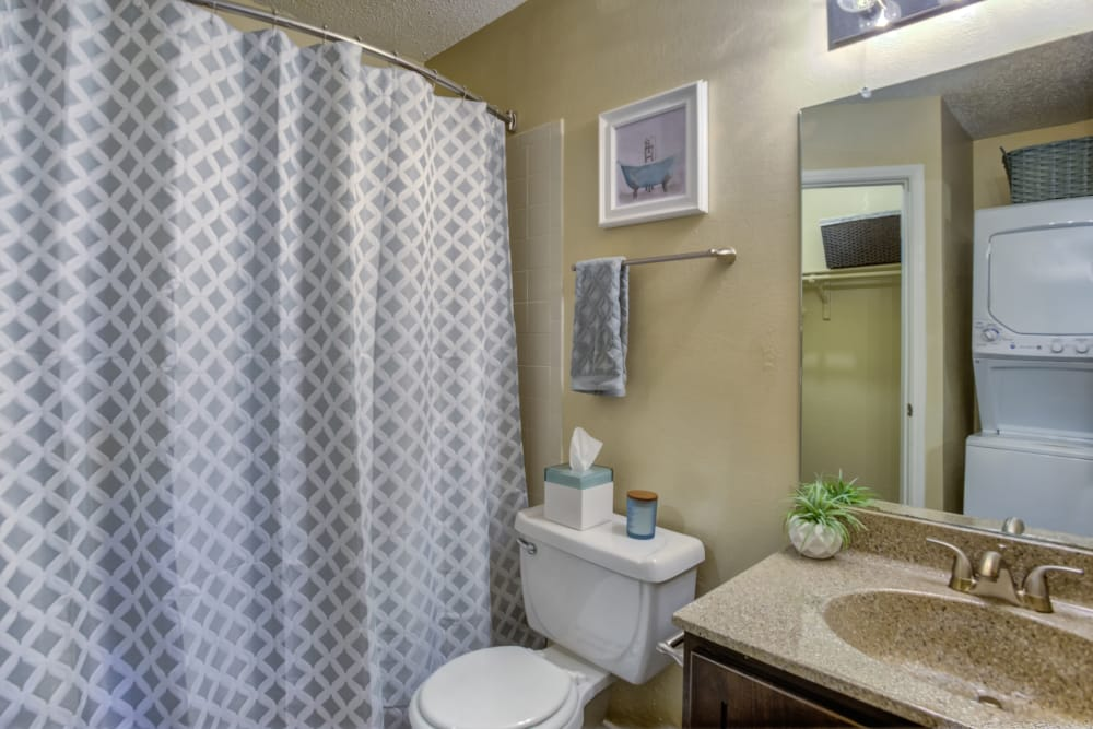 Gorgeous bathroom at Enclave at Water's Edge Apartments in Austin, Texas