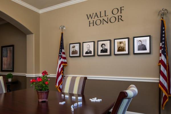 Wall of Honor at Sun Oak Senior Living in Citrus Heights, California