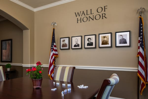 Wall of Honor at Seasons Memory Care at Rolling Hills in Torrance, California