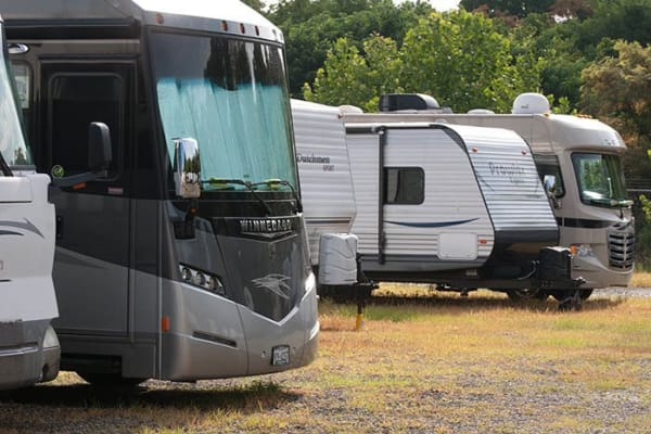 RV and boat parking at Virginia Varsity Storage in Roanoke, Virginia