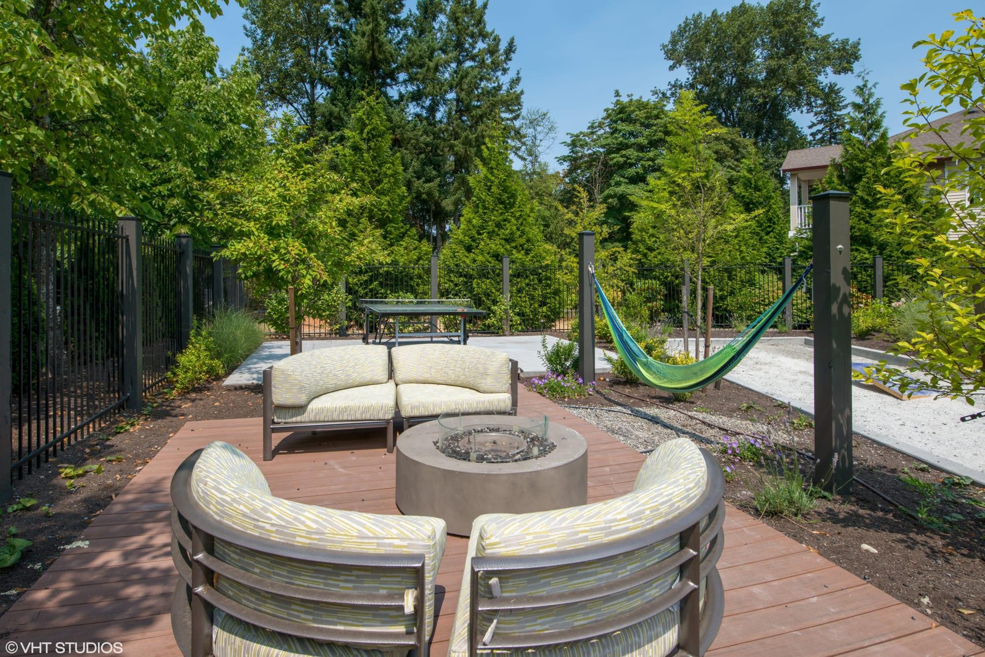 An outdoor lounge at Brookside Village in Auburn, Washington