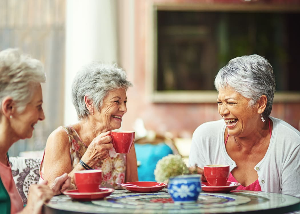 Residents enjoying coffee together at Holden Southcenter in Tukwila, Washington