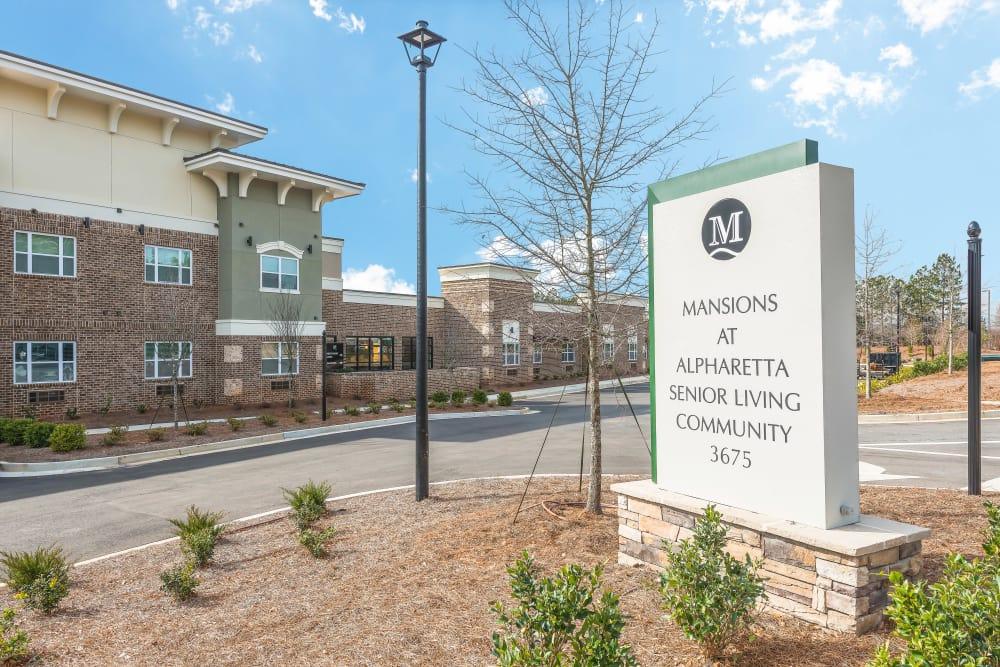 Main sign at The Mansions at Alpharetta in Alpharetta, Georgia