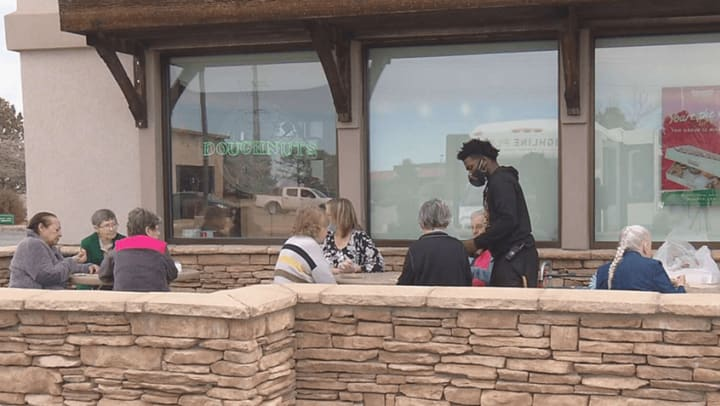 memory care vaccinated residents on outing