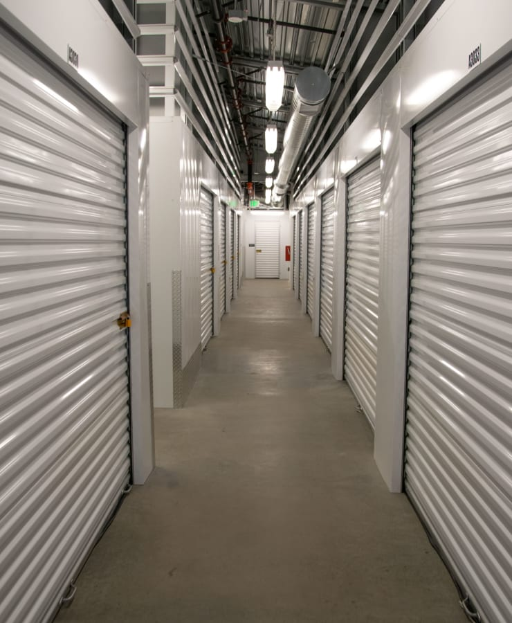Interior storage units at StorQuest Self Storage in Los Angeles, California