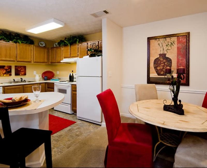 Large kitchen with dining room at Holland Park in Lawrenceville, Georgia