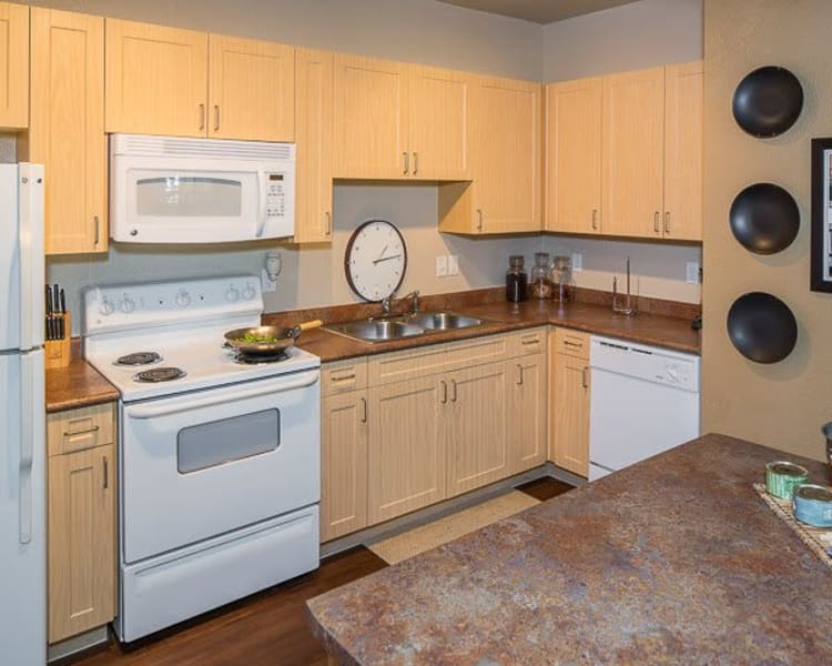 Spacious kitchen with plenty of counter space at Ranch ThreeOFive in Arlington, Texas
