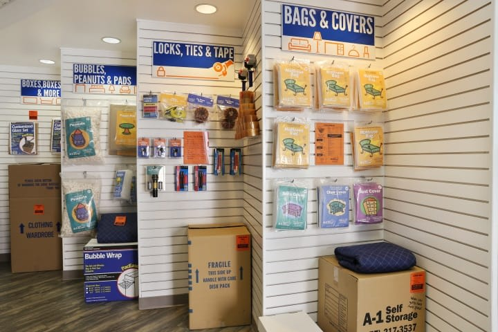 A-1 Self Storage sells a large variety of packing and moving supplies in the front office, all for your convenience.