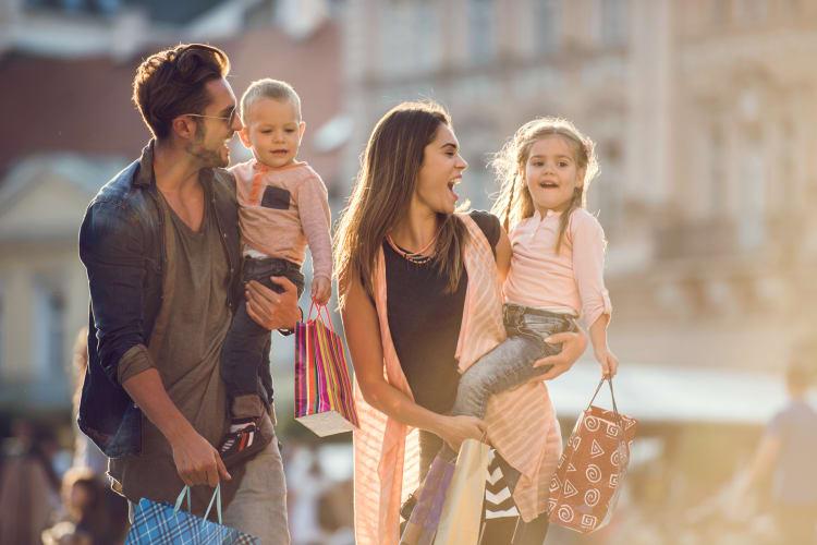 Family shopping in city area near Retreat at Hart Ranch in San Antonio, Texas