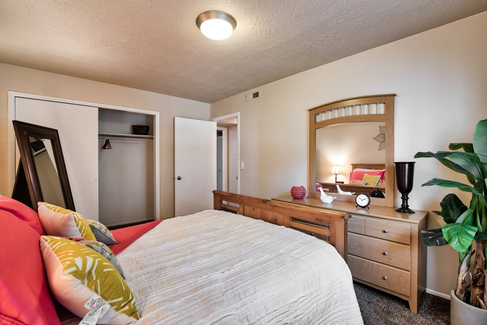 Bedroom at Cherry Creek Apartments in Riverdale, UT