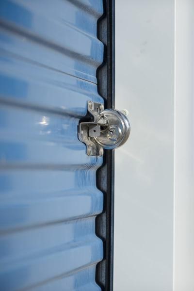 A secured storage unit door at Best American Storage in Lynn Haven, Florida