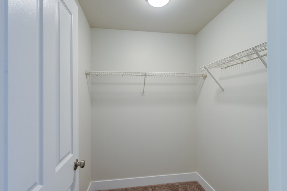 Walk in closets at Bradley Park Apartments in Puyallup, Washington