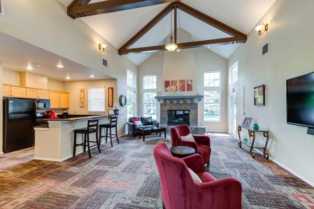 Another view of the clubhouse at Bradley Park Apartments in Puyallup, showcasing the fully equipped kitchen
