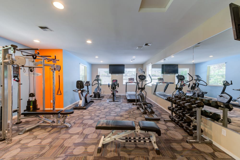 Fully equipped fitness center at Bradley Park Apartments in Puyallup