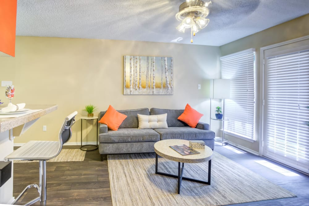 Luxury living room at Enclave at Water's Edge Apartments in Austin, Texas