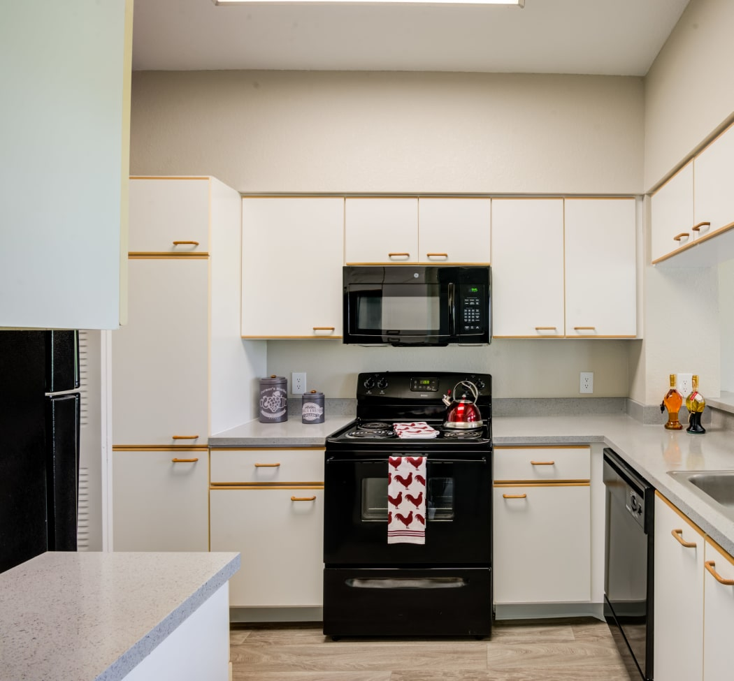 Model home's kitchen with black appliances at IMT Pinebrook Pointe in Margate, Florida
