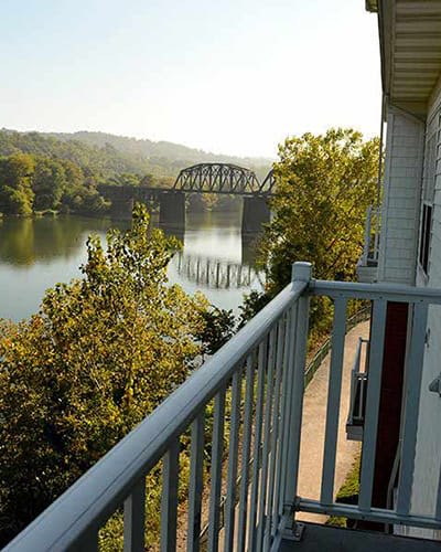 View of a bridge from a balcony at The Waterfront in Munhall, Pennsylvania
