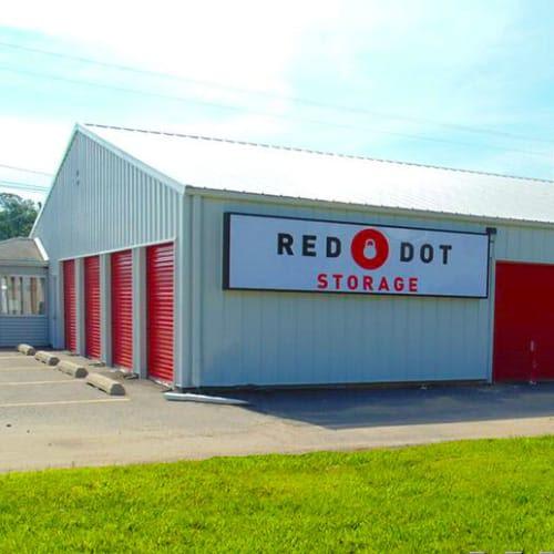 Outdoor storage units at Red Dot Storage in Montgomery, Alabama