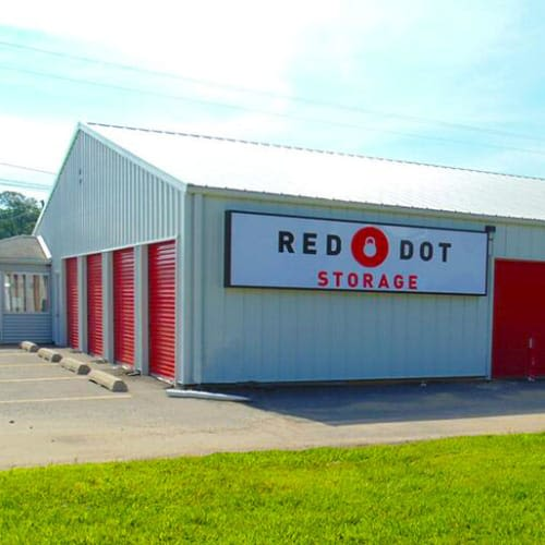 Outdoor storage units at Red Dot Storage in Woodstock, Illinois