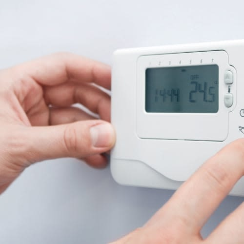 A thermostat for climate control at Red Dot Storage in Pittsburgh, Pennsylvania