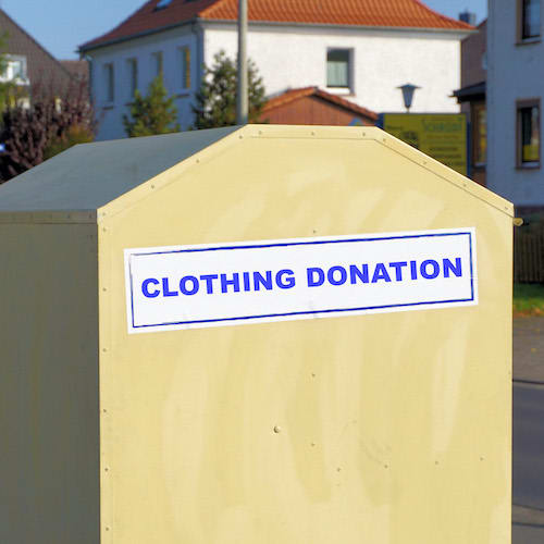 clothing and textile donation bins in a community