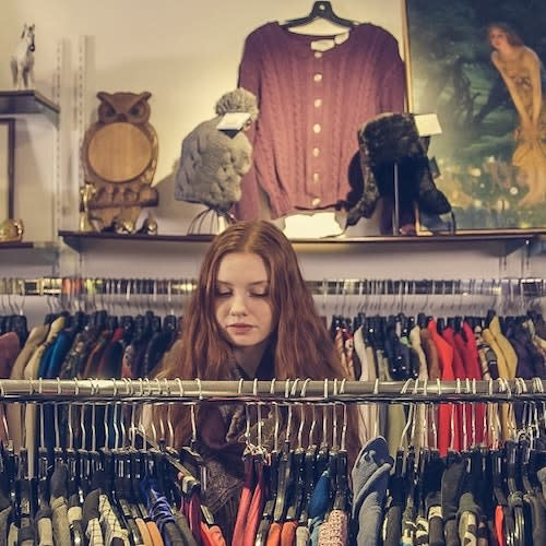 girl in a consignment store