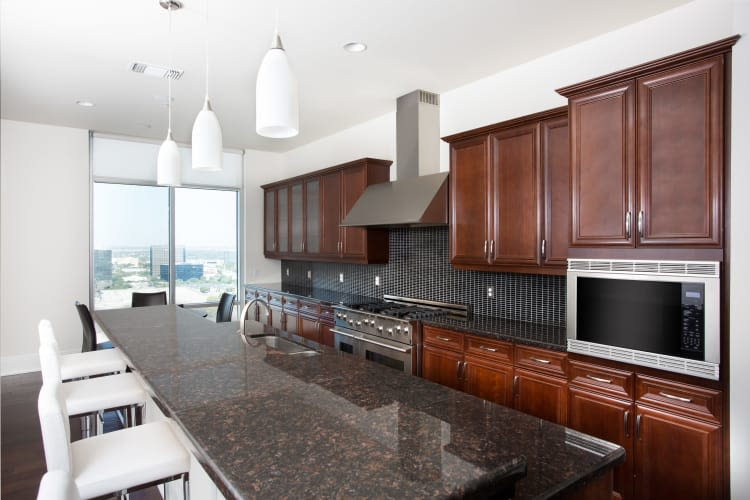 Luxurious clubhouse kitchen at The Heights at Park Lane in Dallas, Texas