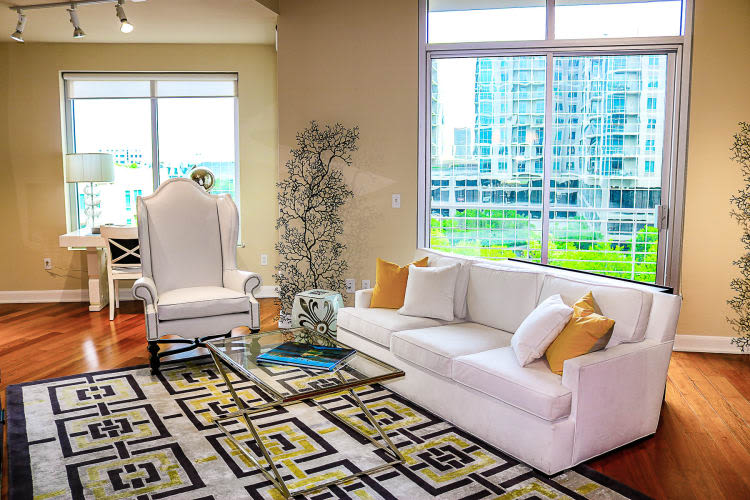 Bright colorful living room at The Heights at Park Lane in Dallas, Texas
