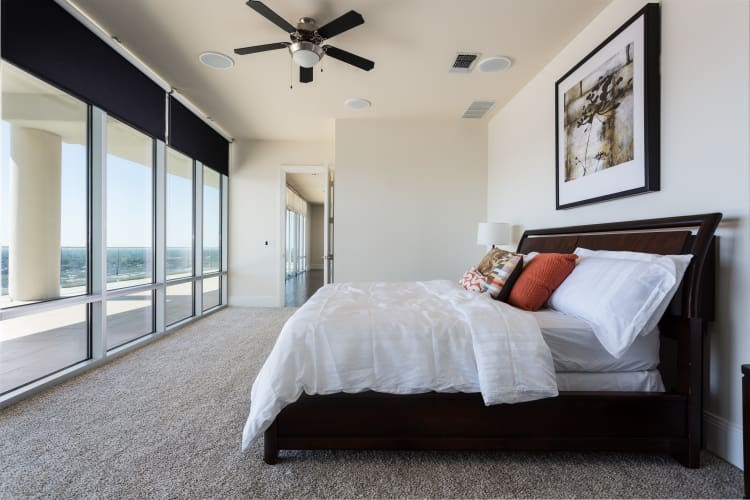 Master bedroom with view at The Heights at Park Lane in Dallas, Texas