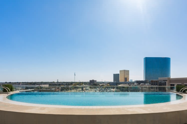 Rooftop pool view at The Heights at Park Lane in Dallas, Texas
