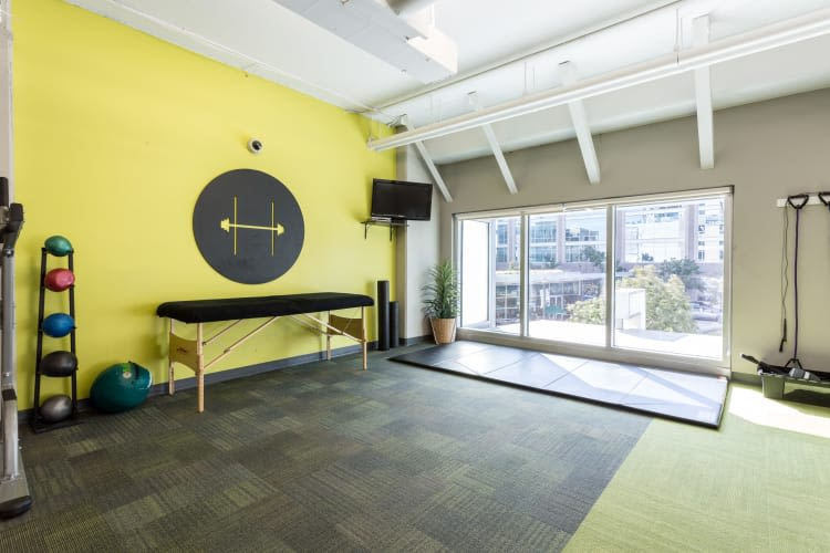 Yoga room at The Heights at Park Lane in Dallas, Texas