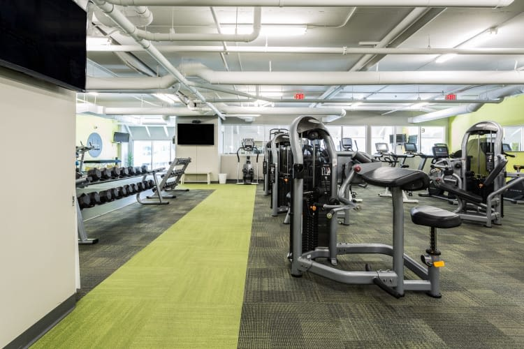 Huge fitness center at The Heights at Park Lane in Dallas, Texas