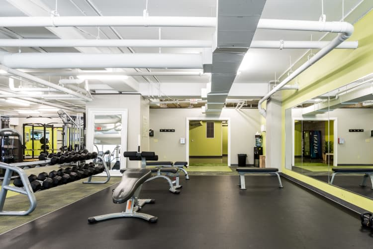 Spacious fitness center at The Heights at Park Lane in Dallas, Texas