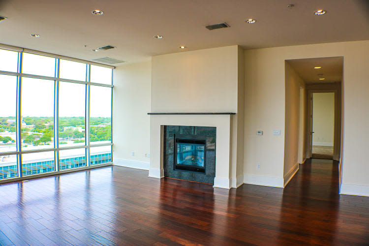 Spacious living room at The Heights at Park Lane in Dallas, Texas