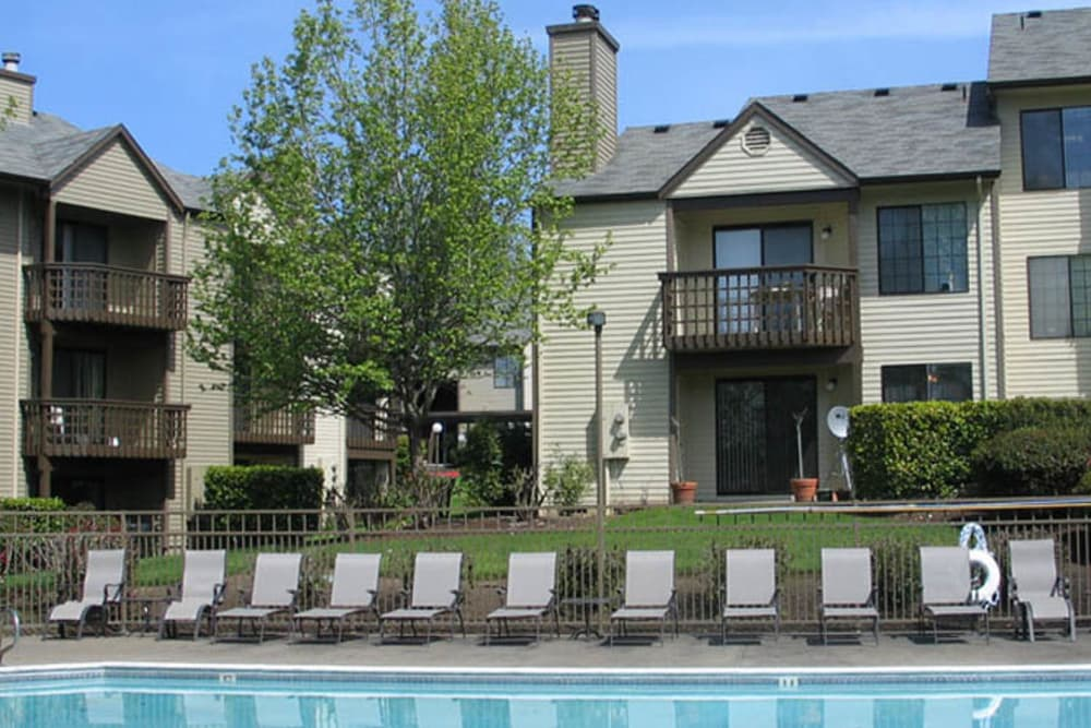 View from poolside at Willow Grove Apartment Homes in Beaverton, OR