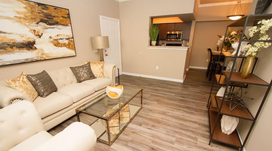 model living room and kitchen at Veranda in Texas City, Texas