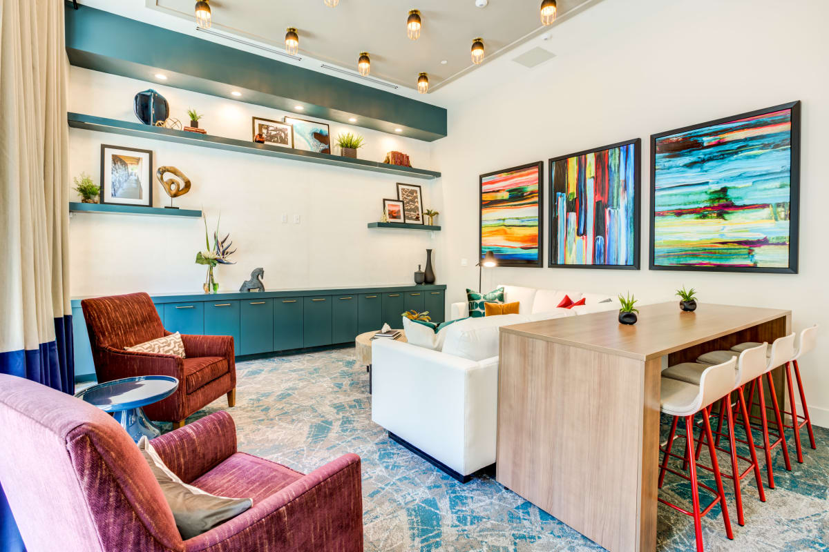 Clubhouse lounge area at Solera at City Centre in Palm Beach Gardens, Florida